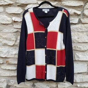 4/$20 Alfred Dunner Patriotic Cardigan XL
